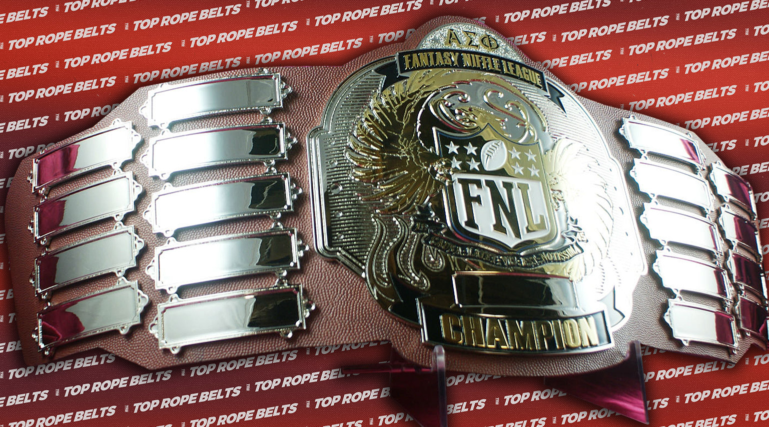 Fantasy Football Belt Trophy http://topropebelts.com/gallery/niffle-fantasy-football-league-championship-belt/